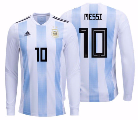 9b1ac3c3a ... FIFA WORLD CUP 2018. Adidas Messi Argentina Long Sleeve Home Jersey 2018  BQ9333