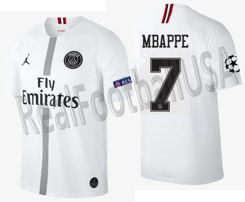 pretty nice 909ae 8dfb3 JORDAN KYLIAN MBAPPE PSG PARIS SAINT-GERMAIN UEFA CHAMPIONS LEAGUE AWAY  JERSEY 2018/19.
