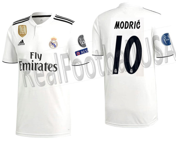 the latest 43e41 5691f ADIDAS LUKA MODRIC REAL MADRID UEFA CHAMPIONS LEAGUE HOME JERSEY 2018/19.