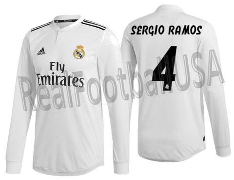 4081267da6e ADIDAS RAMOS REAL MADRID LONG SLEEVE AUTHENTIC MATCH HOME JERSEY 2018/19  DQ0869