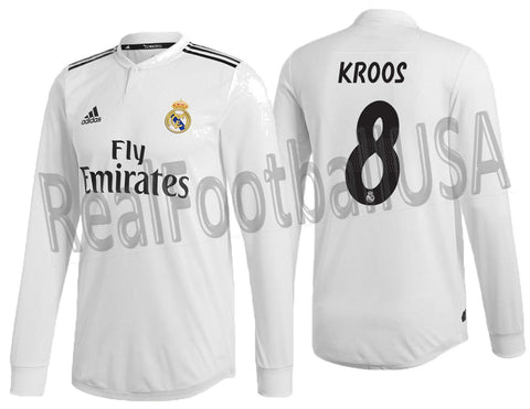 ADIDAS KROOS REAL MADRID LONG SLEEVE AUTHENTIC MATCH HOME JERSEY 2018/19 DQ0869