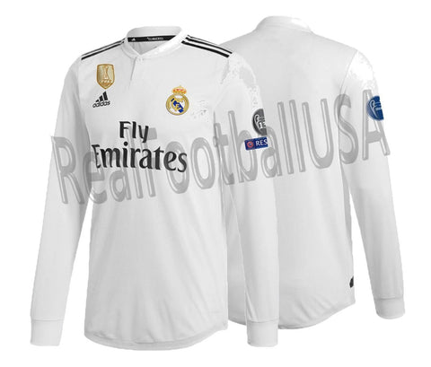 ADIDAS REAL MADRID LONG SLEEVE AUTHENTIC MATCH UEFA CHAMPIONS LEAGUE HOME JERSEY 2018/19