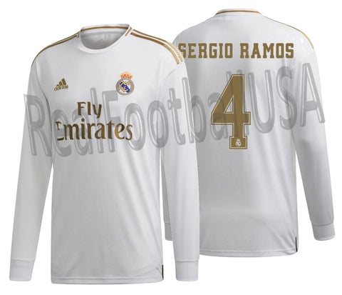 ADIDAS SERGIO RAMOS REAL MADRID LONG SLEEVE HOME JERSEY 2019/20