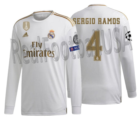 ADIDAS SERGIO RAMOS REAL MADRID LONG SLEEVE CHAMPIONS LEAGUE HOME JERSEY 2019/20