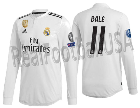 ADIDAS BALE REAL MADRID LONG SLEEVE AUTHENTIC MATCH CHAMPIONS LEAGUE HOME JERSEY  2018 19 DQ0869 1381f5414