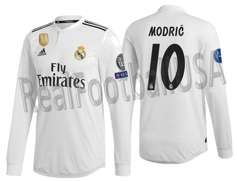 fbdc9e0da ADIDAS MODRIC REAL MADRID LONG SLEEVE AUTHENTIC MATCH CHAMPIONS LEAGUE HOME  JERSEY 2018 19 DQ0869