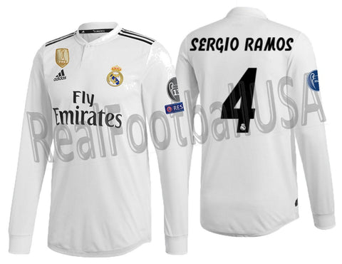 outlet store 64b2d 2a88a ADIDAS SERGIO RAMOS REAL MADRID LONG SLEEVE AUTHENTIC MATCH UEFA CHAMPIONS  LEAGUE HOME JERSEY 2018/19.