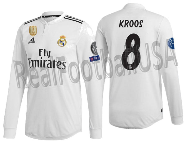 d102b1ba635 ADIDAS TONY KROOS REAL MADRID LONG SLEEVE AUTHENTIC MATCH UEFA CHAMPIONS  LEAGUE HOME JERSEY 2018 19.