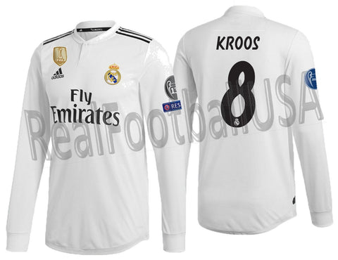 ADIDAS KROOS REAL MADRID LONG SLEEVE AUTHENTIC MATCH CHAMPIONS LEAGUE HOME JERSEY 2018/19 DQ0869