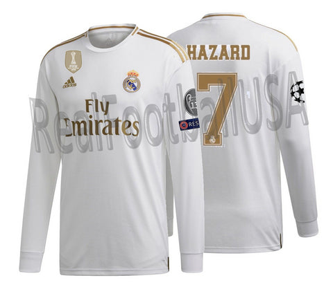 ADIDAS EDEN HAZARD REAL MADRID LONG SLEEVE UEFA CHAMPIONS LEAGUE HOME JERSEY 2019/20.