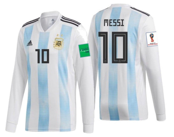 more photos 8930c c3db1 ADIDAS LIONEL MESSI ARGENTINA LONG SLEEVE HOME JERSEY WORLD CUP 2018 FIFA  PATCHES.