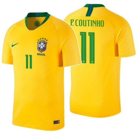NIKE PHILIPPE COUTINHO BRAZIL HOME JERSEY FIFA WORLD CUP 2018.