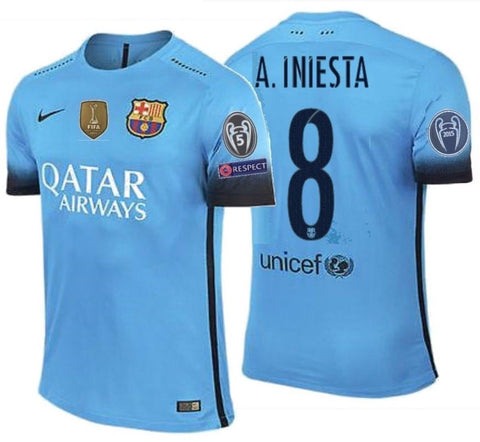 NIKE ANDRES INIESTA FC BARCELONA AUTHENTIC MATCH UEFA CHAMPIONS LEAGUE THIRD JERSEY 2015/16.