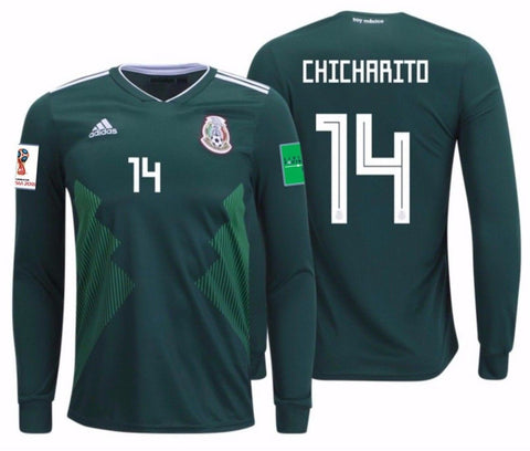 "ADIDAS JAVIER ""CHICHARITO"" HERNANDEZ MEXICO LONG SLEEVE HOME JERSEY WORLD CUP 2018 PATCHES"