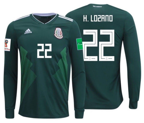 ADIDAS HIRVING LOZANO MEXICO LONG SLEEVE HOME JERSEY WORLD CUP 2018 PATCHES