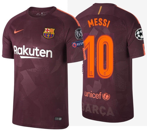 NIKE LIONEL MESSI FC BARCELONA UEFA CHAMPIONS LEAGUE THIRD JERSEY 2017/18.