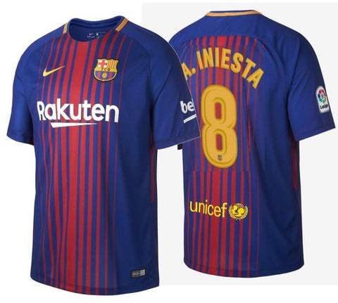 NIKE ANDRES INIESTA FC BARCELONA HOME JERSEY 2017/18.