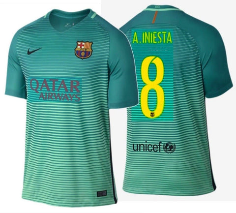 NIKE ANDRES INIESTA FC BARCELONA THIRD JERSEY 2016/17 QATAR.