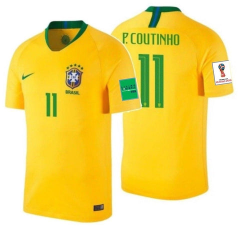 NIKE PHILIPPE COUTINHO BRAZIL HOME JERSEY WORLD CUP 2018 FIFA PATCHES.