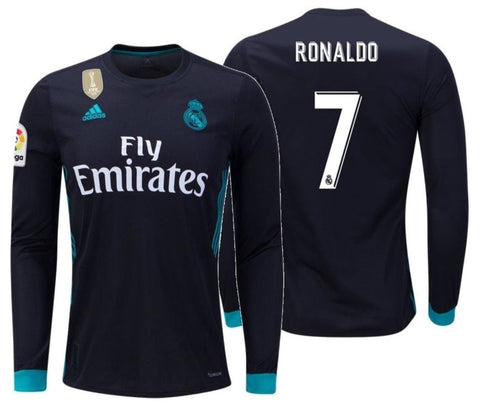 ADIDAS CRISTIANO RONALDO REAL MADRID LONG SLEEVE AWAY YOUTH JERSEY 2017/18.