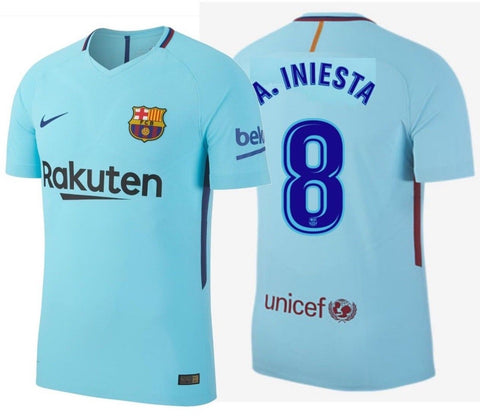 NIKE ANDRES INIESTA FC BARCELONA AUTHENTIC VAPOR MATCH AWAY JERSEY 2017/18.
