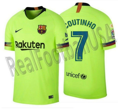 NIKE PHILIPPE COUTINHO FC BARCELONA AWAY JERSEY 2018/19 LA LIGA WINNERS PATCH.