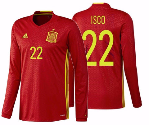 "ADIDAS FRANCISCO ALARCON ""ISCO"" EURO 2016 SPAIN LONG SLEEVE HOME JERSEY Scarlet"