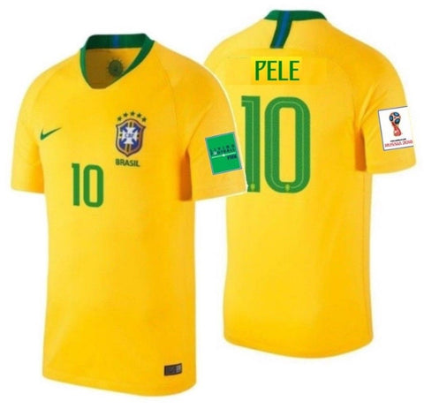 NIKE PELE BRAZIL HOME JERSEY WORLD CUP 2018 FIFA PATCHES.