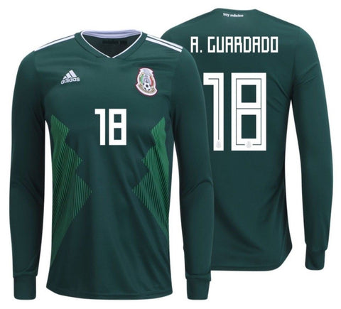 ADIDAS ANDRES GUARDADO MEXICO LONG SLEEVE HOME JERSEY FIFA WORLD CUP 2018.