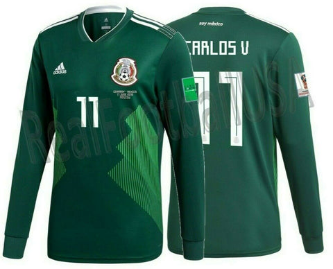 ADIDAS CARLOS VELA MEXICO LONG SLEEVE HOME JERSEY WORLD CUP 2018 MATCH DETAIL