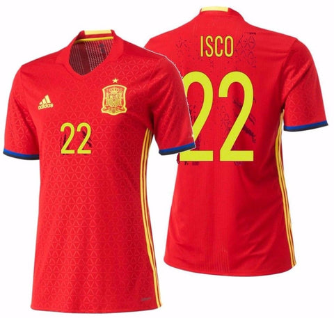 "ADIDAS FRANCISCO ""ISCO"" ALARCON SPAIN EURO 2016 AUTHENTIC PLAYER HOME ADIZERO JERSEY Scarlet."