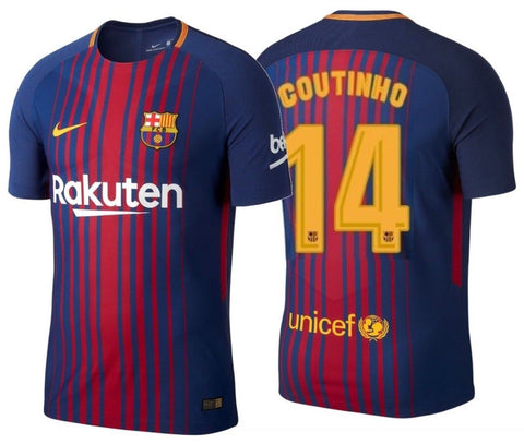 NIKE PHILIPPE COUTINHO FC BARCELONA AUTHENTIC VAPOR MATCH HOME JERSEY 2017/18.