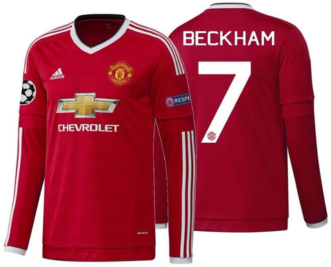 ADIDAS DAVID BECKHAM MANCHESTER UNITED LONG SLEEVE UEFA CL HOME JERSEY 2015/16