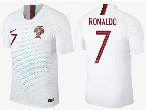 NIKE CRISTIANO RONALDO PORTUGAL VAPORKNIT VAPOR MATCH AUTHENTIC AWAY JERSEY FIFA WORLD CUP 2018.