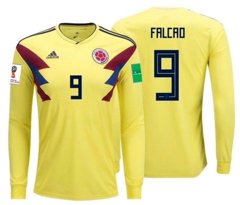 ADIDAS RADAMEL FALCAO COLOMBIA LONG SLEEVE HOME JERSEY FIFA WORLD CUP 2018 PATCHES