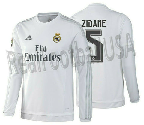 ADIDAS ZINEDINE ZIDANE REAL MADRID LONG SLEEVE HOME JERSEY 2015/16
