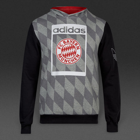 ADIDAS ORIGINALS BAYERN MUNICH FLEECE HOODIE Grey/Black.