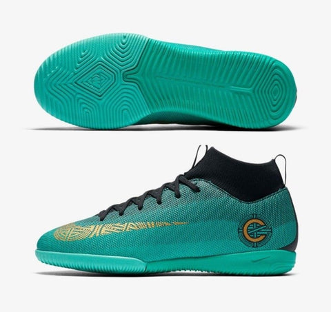 NIKE CR7 RONALDO MERCURIALX SUPERFLY VI ACADEMY CR7 IC YOUTH INDOOR SOCCER SHOES.