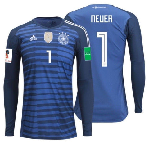 ADIDAS MANUEL NEUER GERMANY HOME GOALKEEPER JERSEY FIFA WORLD CUP 2018 PATCHES.