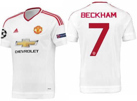 ADIDAS DAVID BECKHAM MANCHESTER UNITED UEFA CHAMPIONS LEAGUE AWAY JERSEY 2015/16