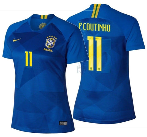 NIKE PHILIPPE COUTINHO BRAZIL AWAY WOMEN'S JERSEY FIFA WORLD CUP 2018.
