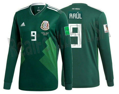 ADIDAS RAUL JIMENEZ MEXICO LONG SLEEVE HOME JERSEY WORLD CUP 2018 MATCH DETAIL