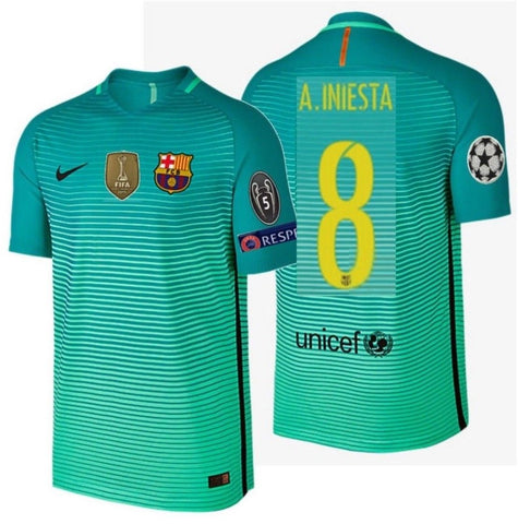 NIKE ANDRES INIESTA FC BARCELONA AUTHENTIC VAPOR MATCH UEFA CHAMPIONS LEAGUE THIRD JERSEY 2016/17 1