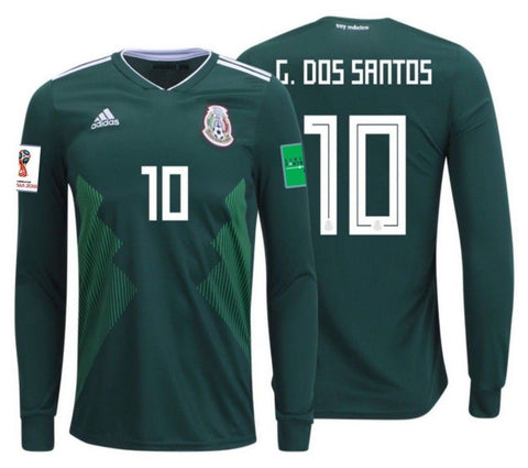 Adidas Dos Santos Mexico Long Sleeve Home Jersey  2018 BQ4700