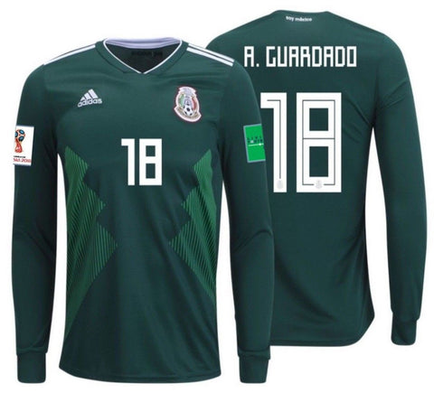 ADIDAS ANDRES GUARDADO MEXICO LONG SLEEVE HOME JERSEY WORLD CUP 2018 PATCHES 0