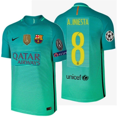 NIKE ANDRES INIESTA FC BARCELONA AUTHENTIC VAPOR MATCH UEFA CHAMPIONS LEAGUE THIRD JERSEY 2016/17 QATAR.