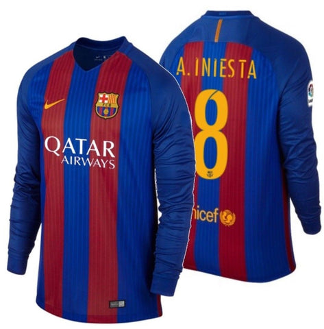 NIKE ANDRES INIESTA FC BARCELONA LONG SLEEVE HOME JERSEY 2016/17 QATAR.