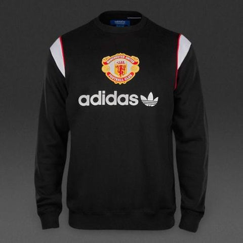 ADIDAS ORIGINALS MANCHESTER UNITED CREW SWEATSHIRT Black.
