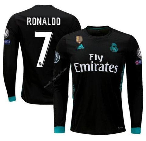 ADIDAS CRISTIANO RONALDO REAL MADRID LONG SLEEVE UEFA CHAMPIONS LEAGUE AWAY YOUTH JERSEY 2017/18.