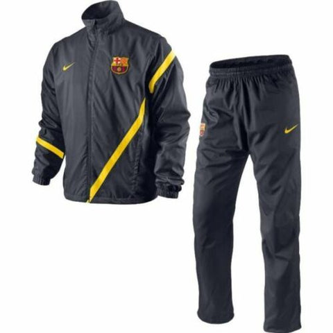 NIKE FC BARCELONA SIDELINE WOVEN WARM UP TRACKSUIT Grey/Tour Yellow.